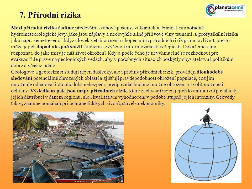 7. Přírodní rizika Mezi přírodní rizika řadíme především svahové posuny, vulkanickou činnost, mimořádné hydrometeorologické jevy, jako jsou záplavy a