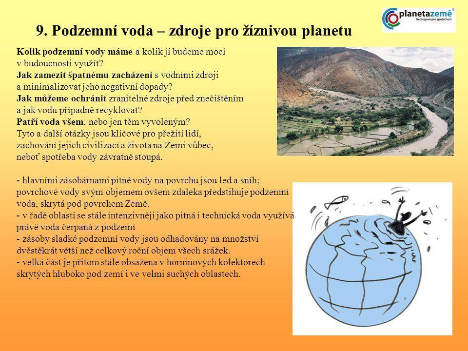 9. Podzemní voda – zdroje pro žíznivou planetu Kolik podzemní vody máme a kolik jí budeme moci v budoucnosti využít? Jak zamezit špatnému zacházení s