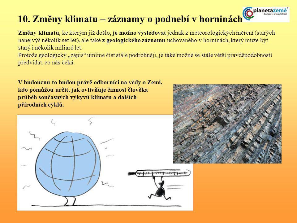 10. Změny klimatu – záznamy o podnebí v horninách Změny klimatu, ke kterým již došlo, je možno vysledovat jednak z meteorologických měření (starých na