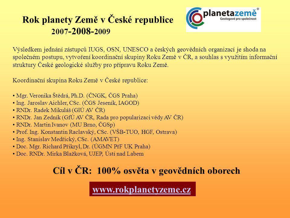 Rok planety Země v České republice 2007 -2008- 2009 Výsledkem jednání zástupců IUGS, OSN, UNESCO a českých geovědních organizací je shoda na společném