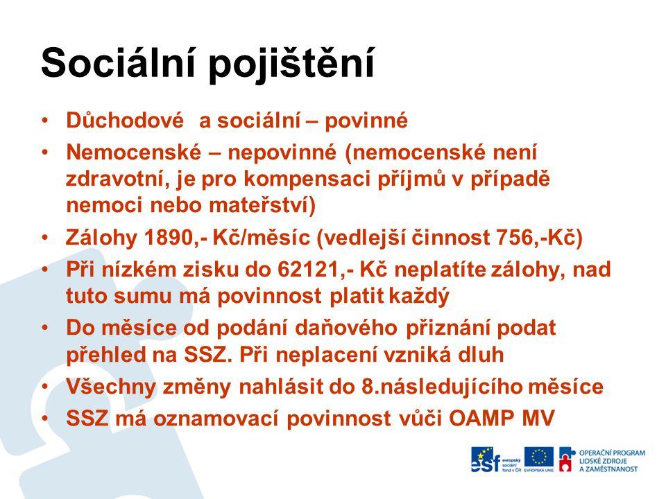 Zdravotní pojištění •Systém podle druhu pobytu •Trvalý pobyt, zaměstnanec, strpění, azyl, žomo, DO, rodinný příslušník za podmínky migrace v EU – veřejné ZP - min.1748,-/měsíc •Přechodný, dlouhodobý pobyt, vízum – pokud není zaměstnanec - komplexní zdravotní pojištění cca 1200,-/měsíc - na celý pobyt •Slavia, Maxima, PVZP, Uniqua, Ergo •Rozdíl v úhradě a úrovni zdravotní péče •Změny hlásit do 8 dnů