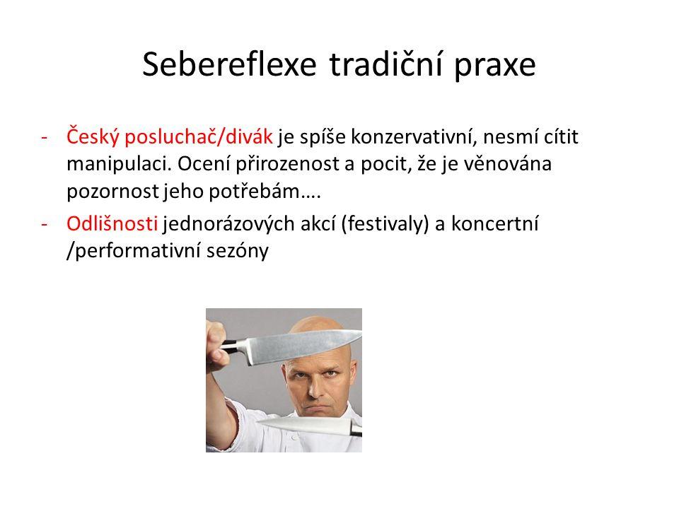 Sebereflexe tradiční praxe -Český posluchač/divák je spíše konzervativní, nesmí cítit manipulaci. Ocení přirozenost a pocit, že je věnována pozornost