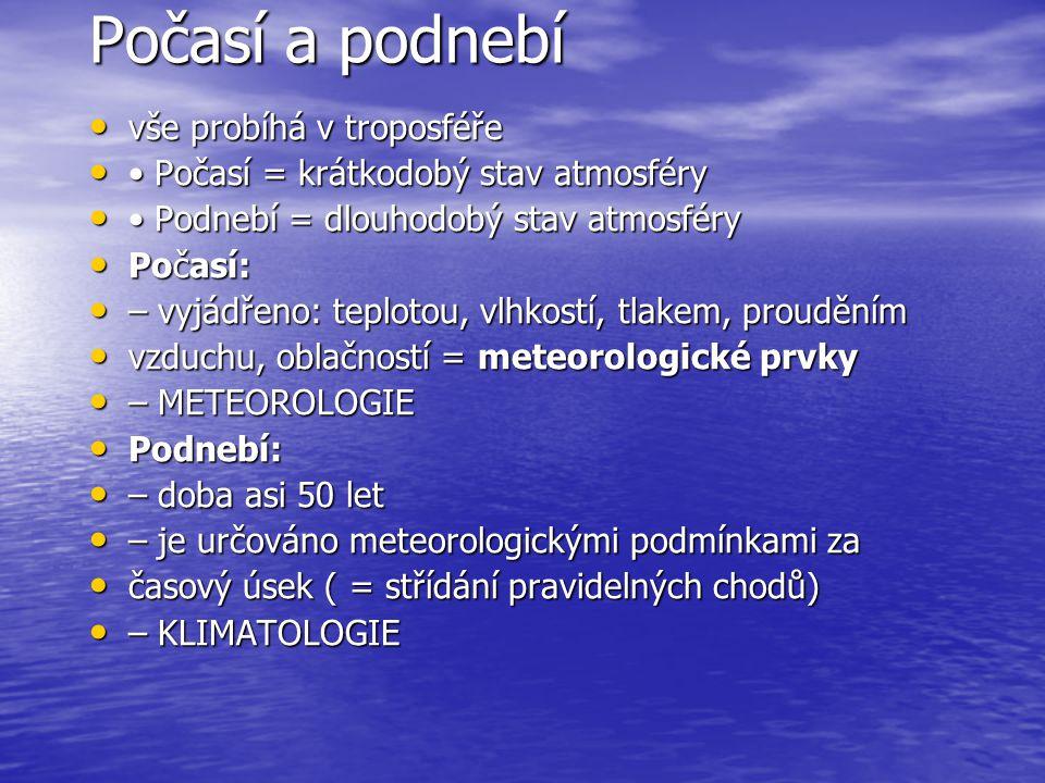 Počasí a podnebí • vše probíhá v troposféře • • Počasí = krátkodobý stav atmosféry • • Podnebí = dlouhodobý stav atmosféry • Počasí: • – vyjádřeno: te