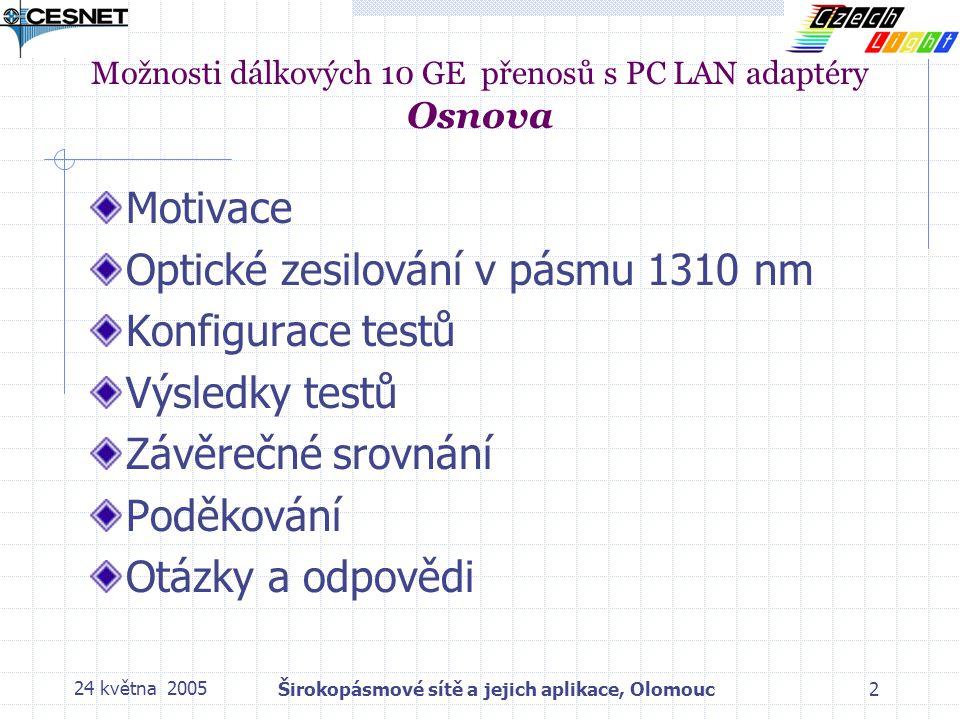 24 května 2005Širokopásmové sítě a jejich aplikace, Olomouc2 Možnosti dálkových 10 GE přenosů s PC LAN adaptéry Osnova Motivace Optické zesilování v pásmu 1310 nm Konfigurace testů Výsledky testů Závěrečné srovnání Poděkování Otázky a odpovědi
