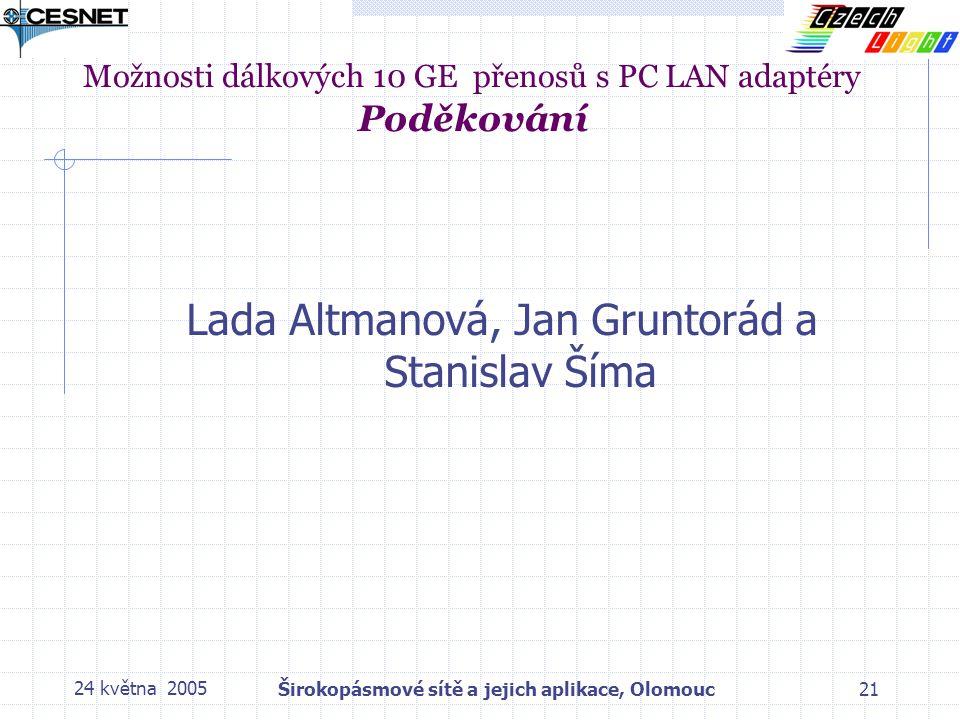 24 května 2005Širokopásmové sítě a jejich aplikace, Olomouc21 Možnosti dálkových 10 GE přenosů s PC LAN adaptéry Poděkování Lada Altmanová, Jan Gruntorád a Stanislav Šíma