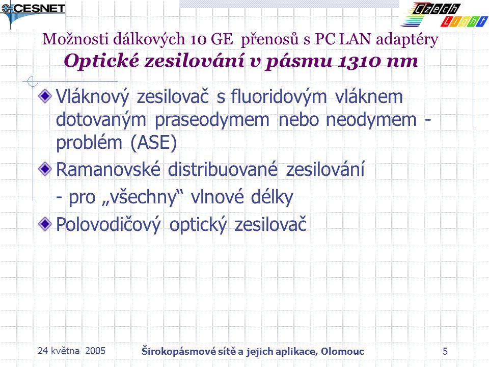 """24 května 2005Širokopásmové sítě a jejich aplikace, Olomouc5 Vláknový zesilovač s fluoridovým vláknem dotovaným praseodymem nebo neodymem - problém (ASE) Ramanovské distribuované zesilování - pro """"všechny vlnové délky Polovodičový optický zesilovač Možnosti dálkových 10 GE přenosů s PC LAN adaptéry Optické zesilování v pásmu 1310 nm"""