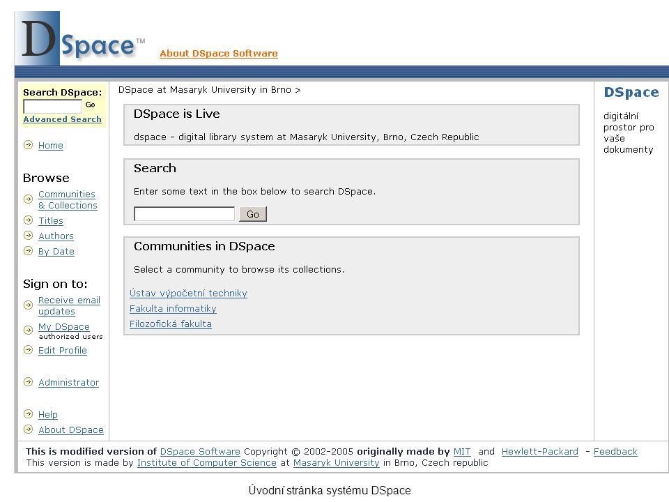 Úvodní stránka systému DSpace