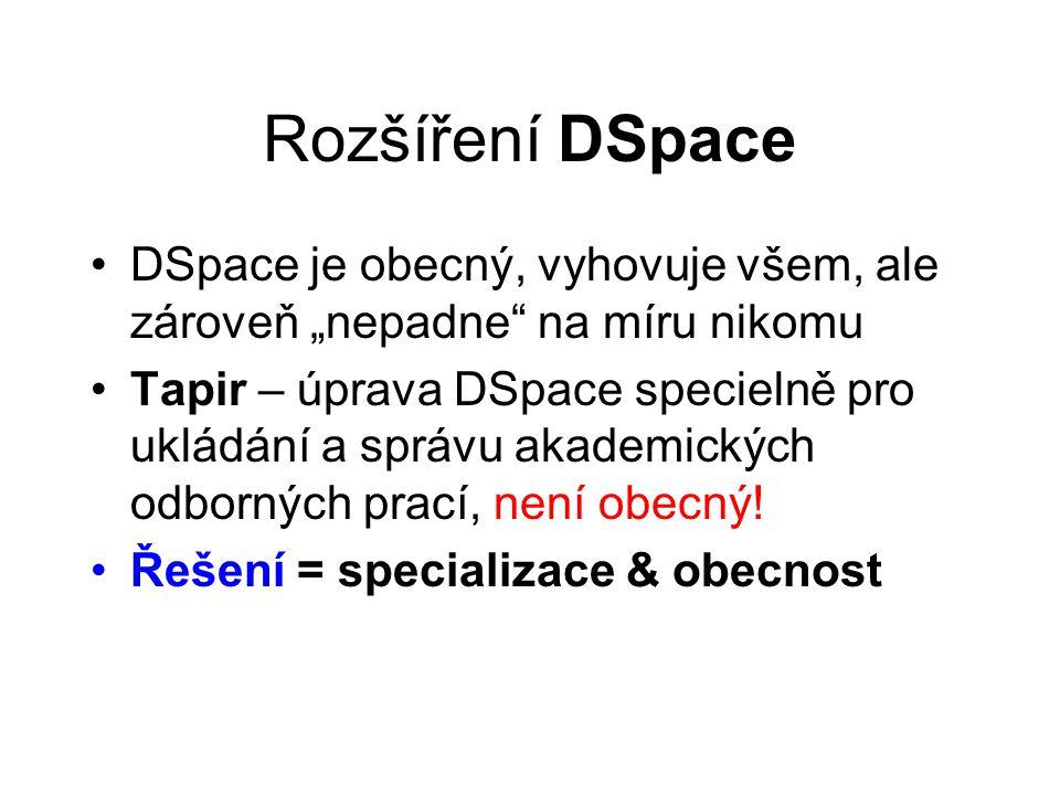 """Rozšíření DSpace •DSpace je obecný, vyhovuje všem, ale zároveň """"nepadne na míru nikomu •Tapir – úprava DSpace specielně pro ukládání a správu akademických odborných prací, není obecný."""