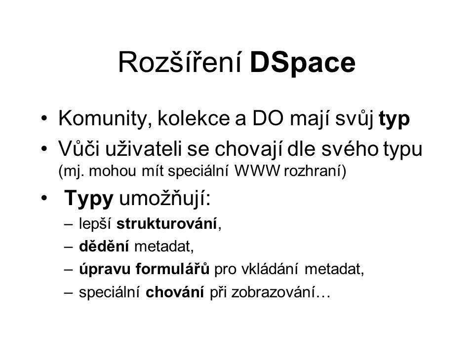 Rozšíření DSpace •Komunity, kolekce a DO mají svůj typ •Vůči uživateli se chovají dle svého typu (mj.