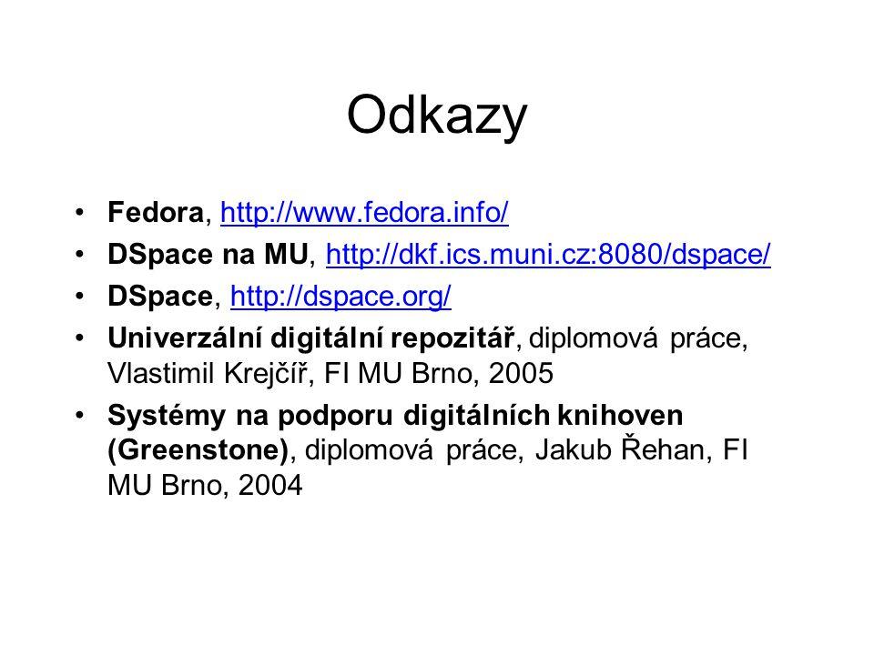 Odkazy •Fedora, http://www.fedora.info/http://www.fedora.info/ •DSpace na MU, http://dkf.ics.muni.cz:8080/dspace/http://dkf.ics.muni.cz:8080/dspace/ •DSpace, http://dspace.org/http://dspace.org/ •Univerzální digitální repozitář, diplomová práce, Vlastimil Krejčíř, FI MU Brno, 2005 •Systémy na podporu digitálních knihoven (Greenstone), diplomová práce, Jakub Řehan, FI MU Brno, 2004