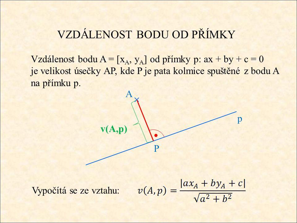 VZDÁLENOST BODU OD PŘÍMKY Vzdálenost bodu A = [x A, y A ] od přímky p: ax + by + c = 0 je velikost úsečky AP, kde P je pata kolmice spuštěné z bodu A na přímku p.