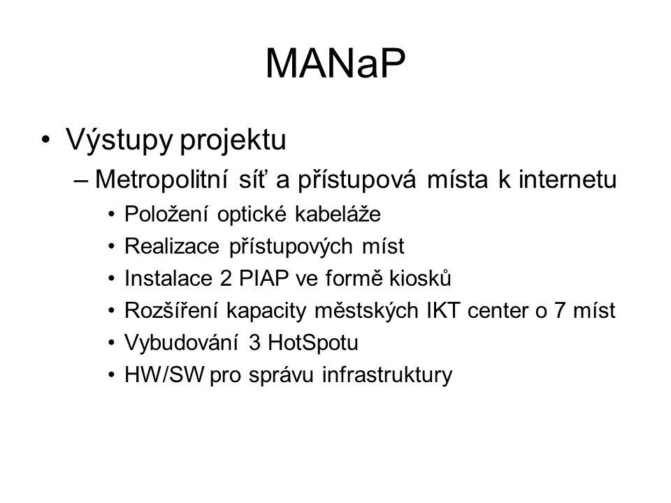 MANaP •Výstupy projektu –Metropolitní síť a přístupová místa k internetu •Položení optické kabeláže •Realizace přístupových míst •Instalace 2 PIAP ve formě kiosků •Rozšíření kapacity městských IKT center o 7 míst •Vybudování 3 HotSpotu •HW/SW pro správu infrastruktury