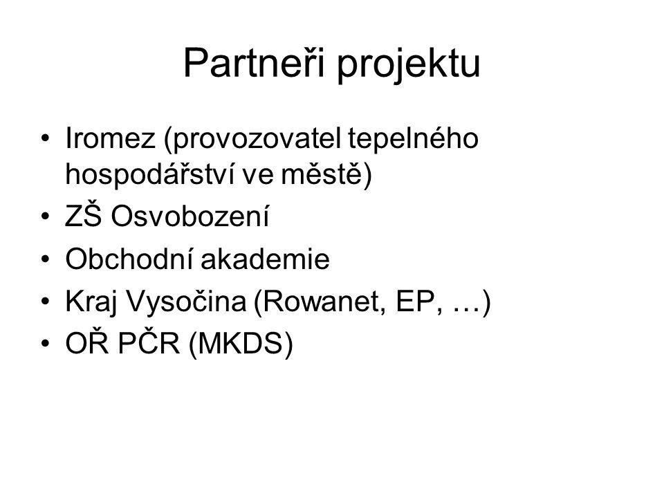 Partneři projektu •Iromez (provozovatel tepelného hospodářství ve městě) •ZŠ Osvobození •Obchodní akademie •Kraj Vysočina (Rowanet, EP, …) •OŘ PČR (MKDS)