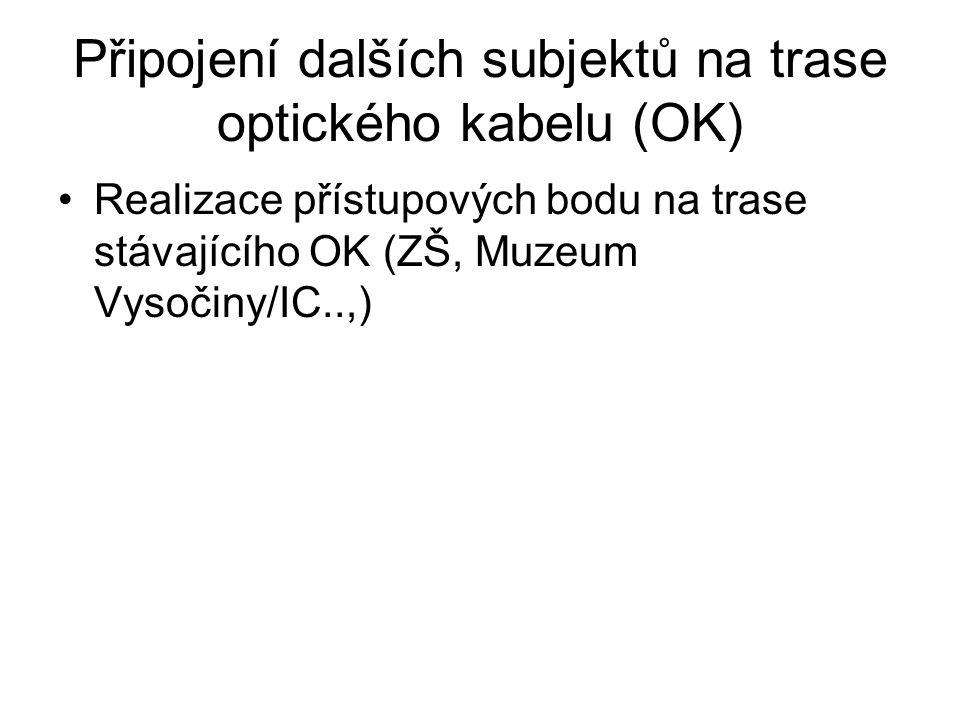 Připojení dalších subjektů na trase optického kabelu (OK) •Realizace přístupových bodu na trase stávajícího OK (ZŠ, Muzeum Vysočiny/IC..,)