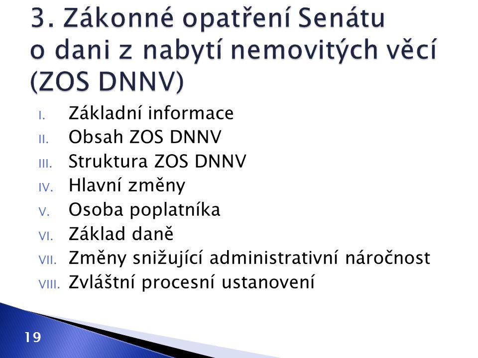 I. Základní informace II. Obsah ZOS DNNV III. Struktura ZOS DNNV IV. Hlavní změny V. Osoba poplatníka VI. Základ daně VII. Změny snižující administrat