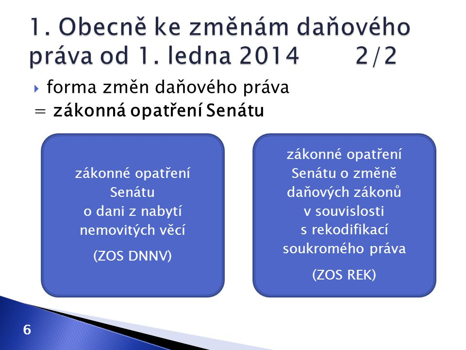 6 zákonné opatření Senátu o dani z nabytí nemovitých věcí (ZOS DNNV) zákonné opatření Senátu o změně daňových zákonů v souvislosti s rekodifikací souk