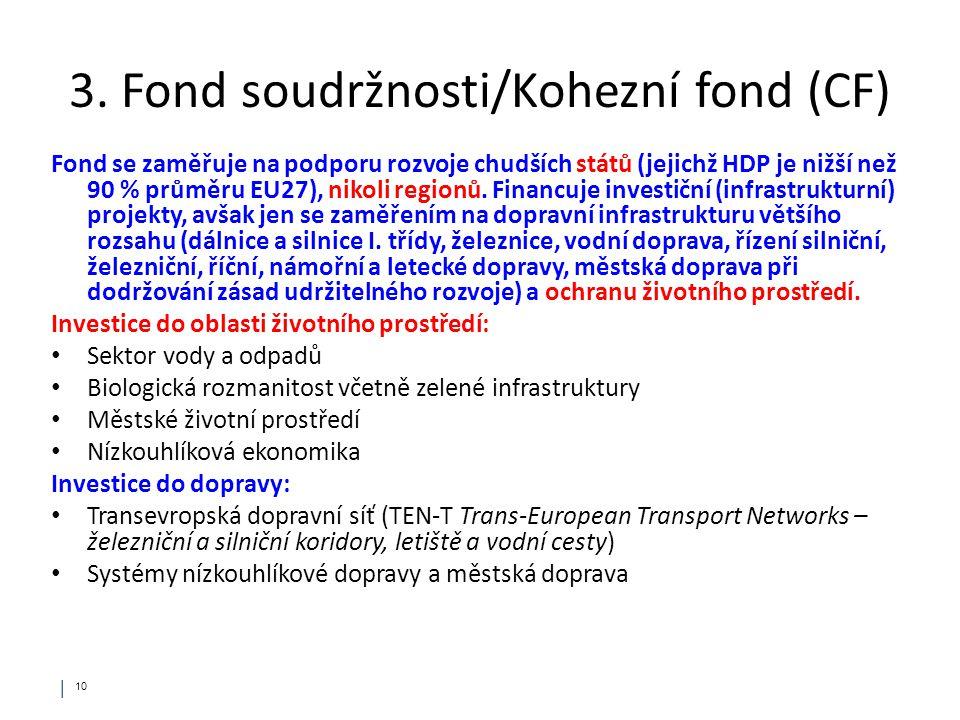 │ 10 3. Fond soudržnosti/Kohezní fond (CF) Fond se zaměřuje na podporu rozvoje chudších států (jejichž HDP je nižší než 90 % průměru EU27), nikoli reg