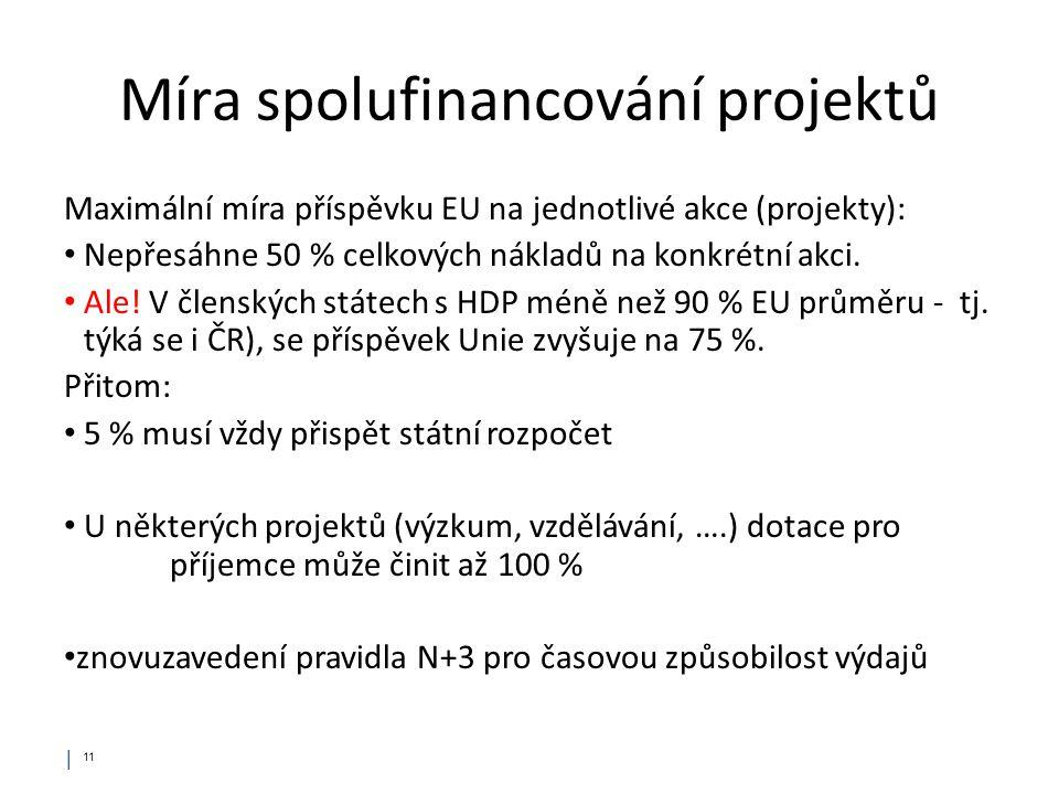 Míra spolufinancování projektů Maximální míra příspěvku EU na jednotlivé akce (projekty): • Nepřesáhne 50 % celkových nákladů na konkrétní akci. • Ale