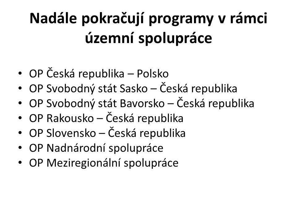 Nadále pokračují programy v rámci územní spolupráce • OP Česká republika – Polsko • OP Svobodný stát Sasko – Česká republika • OP Svobodný stát Bavors
