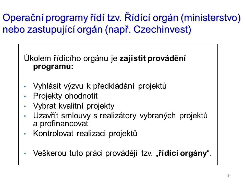 19 Operační programy řídí tzv. Řídící orgán (ministerstvo) nebo zastupující orgán (např. Czechinvest) Úkolem řídícího orgánu je zajistit provádění pro
