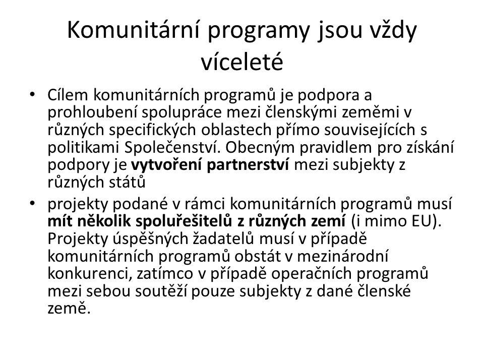 Komunitární programy jsou vždy víceleté • Cílem komunitárních programů je podpora a prohloubení spolupráce mezi členskými zeměmi v různých specifickýc