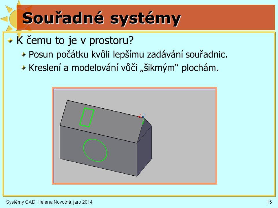 Systémy CAD, Helena Novotná, jaro 201415 Souřadné systémy K čemu to je v prostoru.