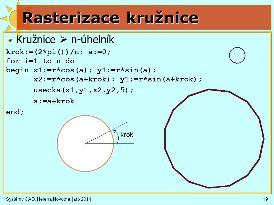 Rasterizace kružnice Kružnice  n-úhelník krok:=(2*pi())/n; a:=0; for i=1 to n do begin x1:=r*cos(a); y1:=r*sin(a); x2:=r*cos(a+krok); y1:=r*sin(a+krok); usecka(x1,y1,x2,y2,5); a:=a+krok end; Systémy CAD, Helena Novotná, jaro 201419 krok