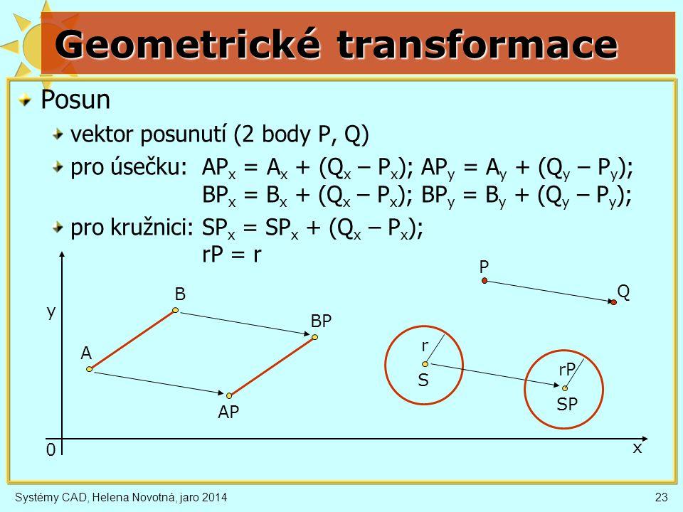 Systémy CAD, Helena Novotná, jaro 201423 Geometrické transformace Posun vektor posunutí (2 body P, Q) pro úsečku: AP x = A x + (Q x – P x ); AP y = A y + (Q y – P y ); BP x = B x + (Q x – P x ); BP y = B y + (Q y – P y ); pro kružnici: SP x = SP x + (Q x – P x ); rP = r x y 0 P Q A B AP BP S SP r rP