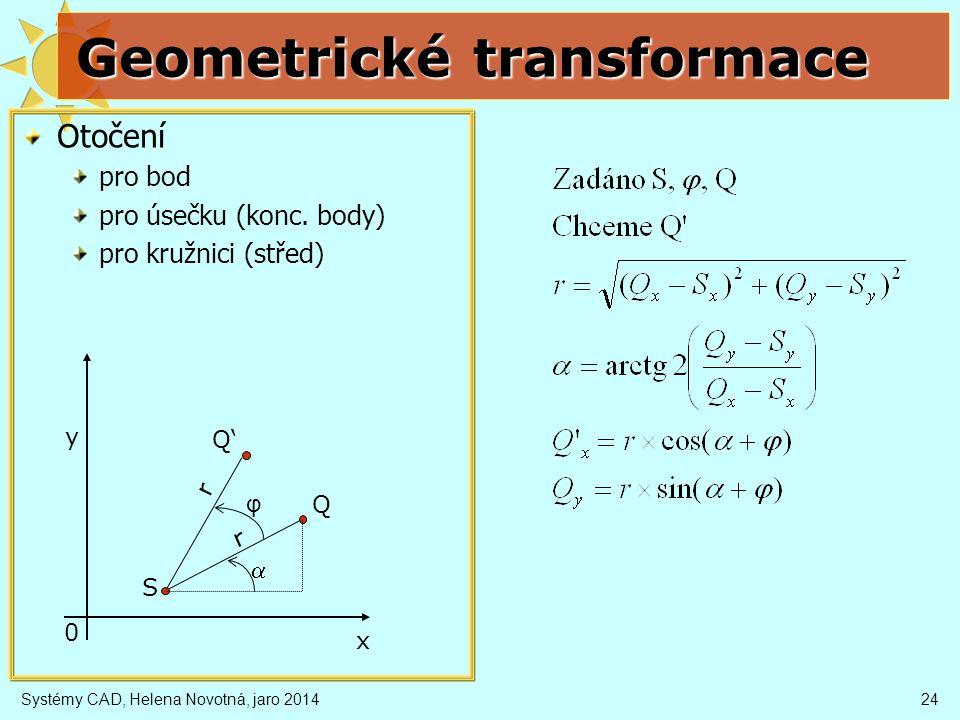 Systémy CAD, Helena Novotná, jaro 201424 Geometrické transformace Otočení pro bod pro úsečku (konc.