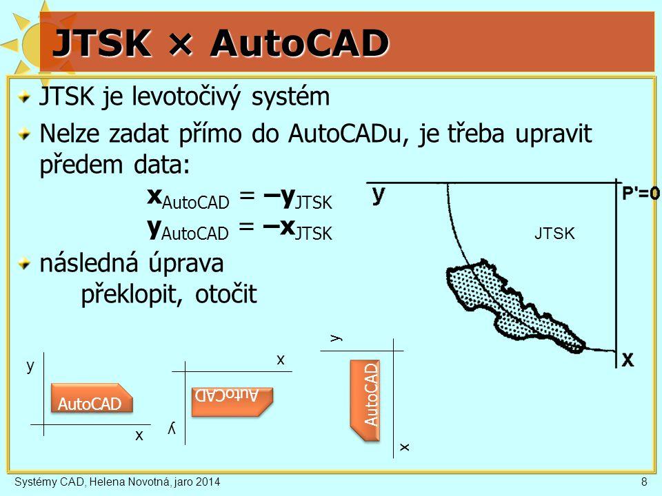 Systémy CAD, Helena Novotná, jaro 20149 Polární souřadnice směr a jednotky pro zadání úhlu absolutní: vzdálenost od počátku, úhel od osy x relativní: vzdálenost od předchozího, úhel od osy x někde vzdálenost od předchozího, úhel od předchozího směru x = r cos(φ), y = r sin(φ) x y 0 r φ 0 r φ A B AutoCAD vzd<úhel @vzd<úhel AutoCAD vzd<úhel @vzd<úhel