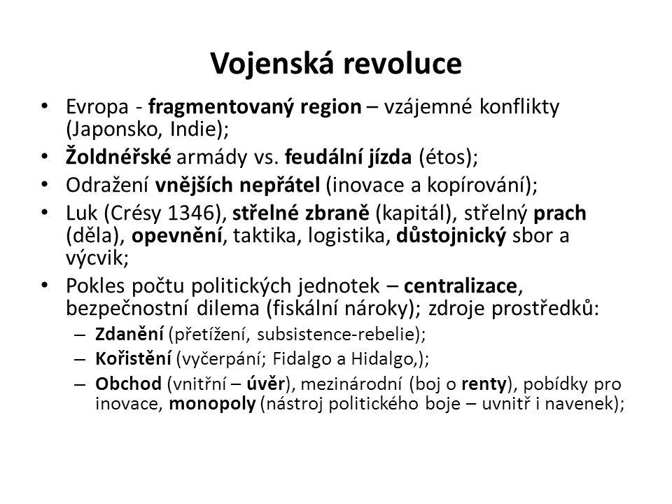 Vojenská revoluce • Evropa - fragmentovaný region – vzájemné konflikty (Japonsko, Indie); • Žoldnéřské armády vs. feudální jízda (étos); • Odražení vn