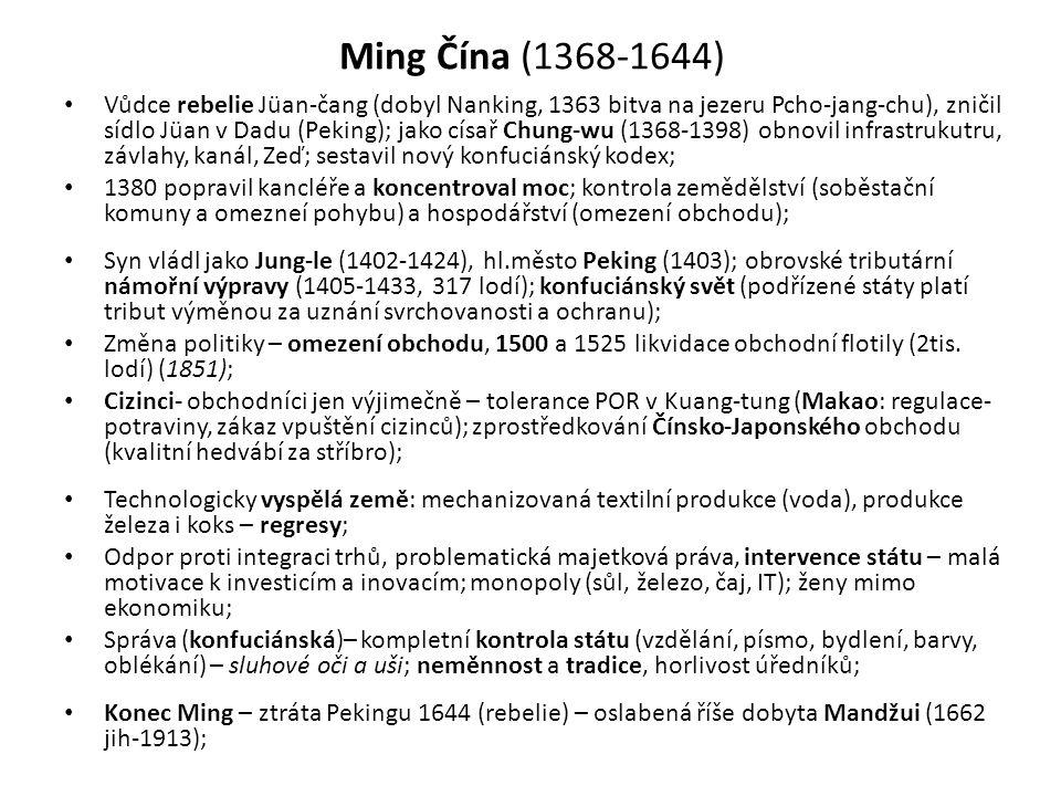 Ming Čína (1368-1644) • Vůdce rebelie Jüan-čang (dobyl Nanking, 1363 bitva na jezeru Pcho-jang-chu), zničil sídlo Jüan v Dadu (Peking); jako císař Chu