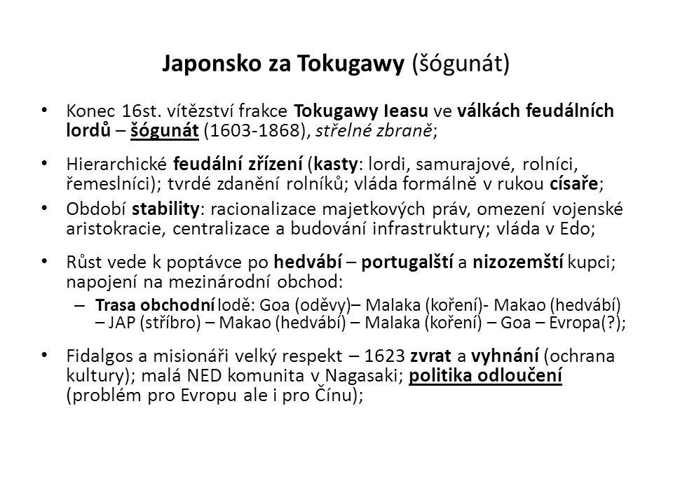 Japonsko za Tokugawy (šógunát) • Konec 16st. vítězství frakce Tokugawy Ieasu ve válkách feudálních lordů – šógunát (1603-1868), střelné zbraně; • Hier