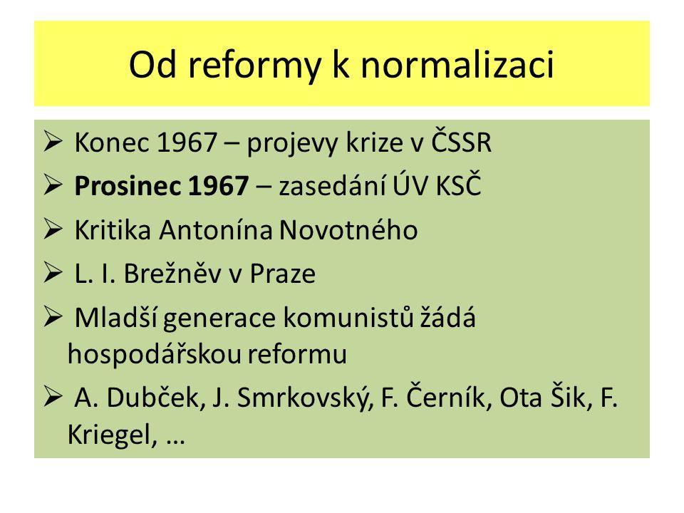Od reformy k normalizaci  Konec 1967 – projevy krize v ČSSR  Prosinec 1967 – zasedání ÚV KSČ  Kritika Antonína Novotného  L.