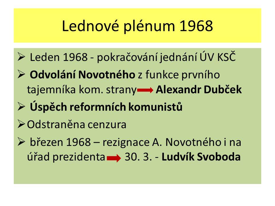 Lednové plénum 1968  Leden 1968 - pokračování jednání ÚV KSČ  Odvolání Novotného z funkce prvního tajemníka kom.
