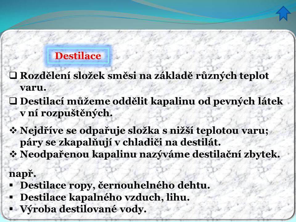 Destilace  Destilací můžeme oddělit kapalinu od pevných látek v ní rozpuštěných.  Nejdříve se odpařuje složka s nižší teplotou varu; páry se zkapalň