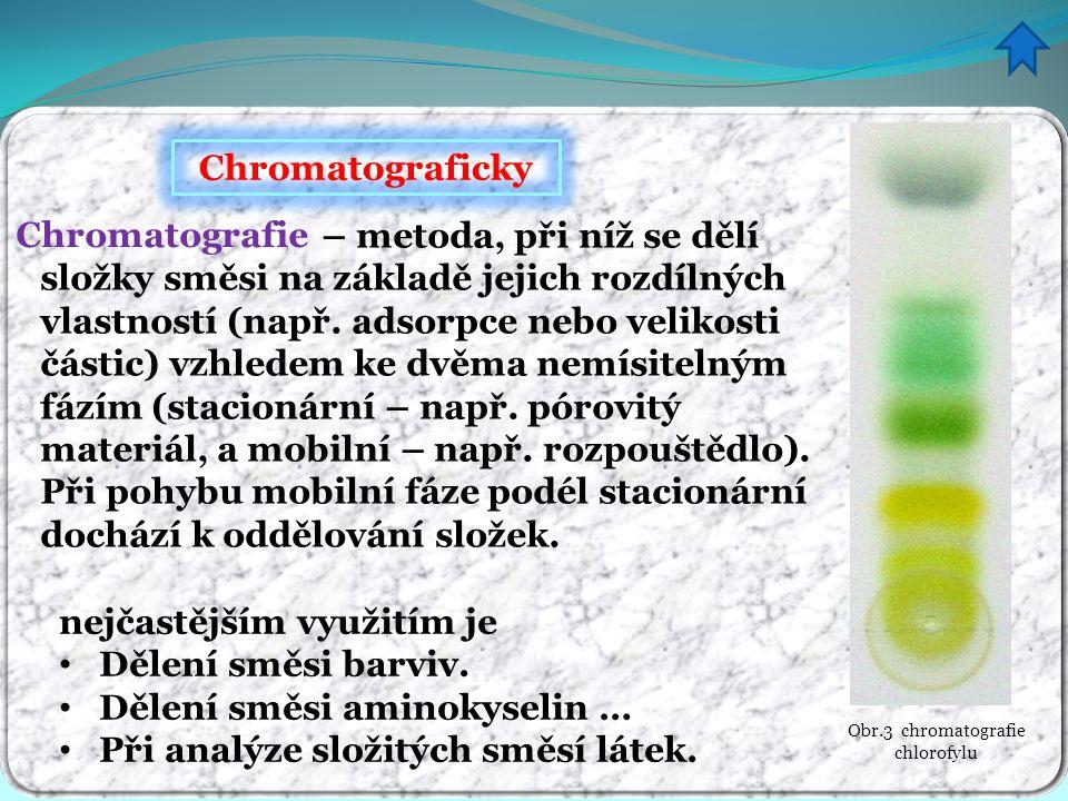 Chromatograficky – metoda, při níž se dělí složky směsi na základě jejich rozdílných vlastností (např. adsorpce nebo velikosti částic) vzhledem ke dvě