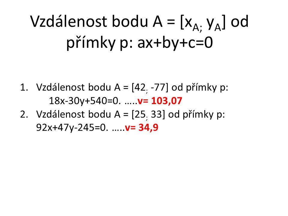 Vzdálenost bodu A = [x A; y A ] od přímky p: ax+by+c=0 1.Vzdálenost bodu A = [42 ; -77] od přímky p: 18x-30y+540=0.