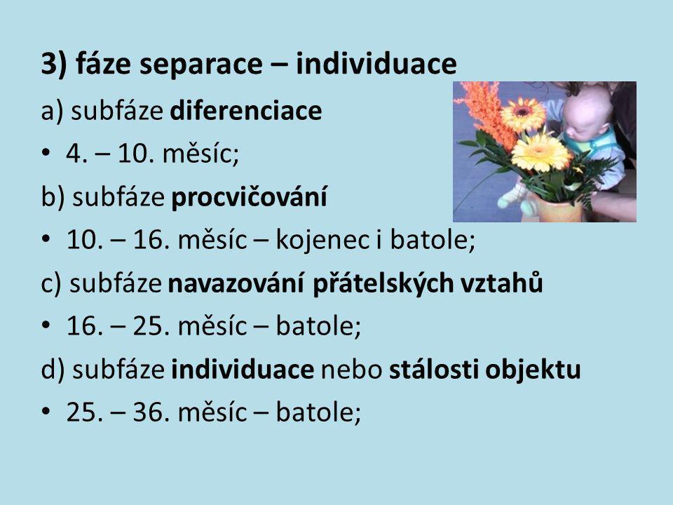 3) fáze separace – individuace a) subfáze diferenciace • 4. – 10. měsíc; b) subfáze procvičování • 10. – 16. měsíc – kojenec i batole; c) subfáze nava
