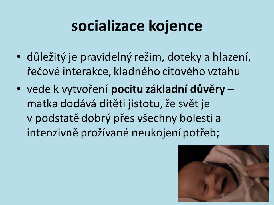 socializace kojence • důležitý je pravidelný režim, doteky a hlazení, řečové interakce, kladného citového vztahu • vede k vytvoření pocitu základní dů