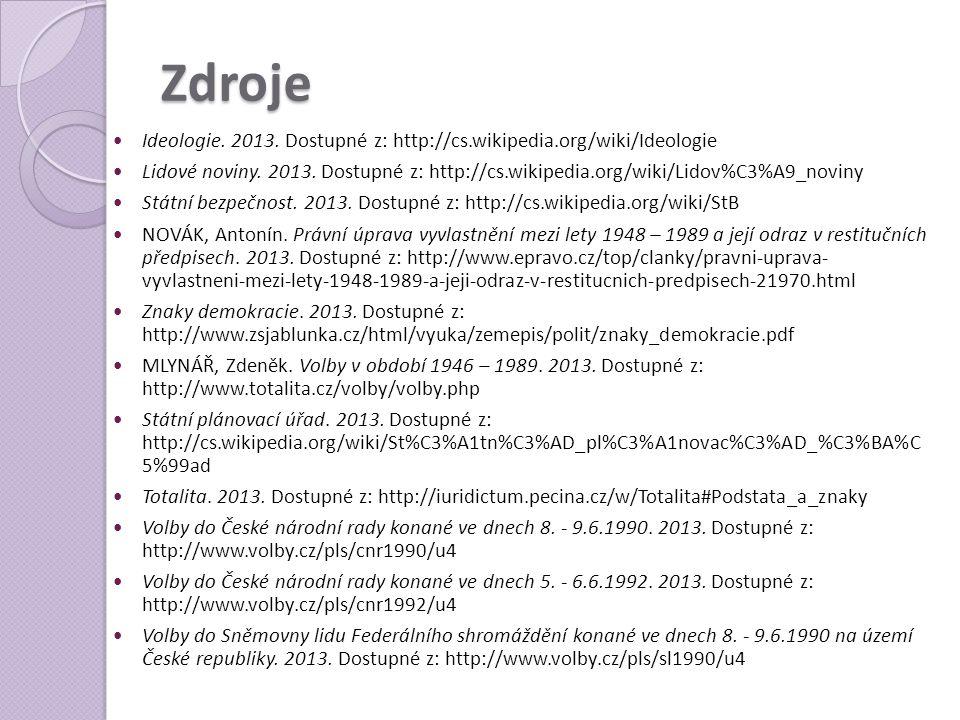 Zdroje  Ideologie. 2013. Dostupné z: http://cs.wikipedia.org/wiki/Ideologie  Lidové noviny. 2013. Dostupné z: http://cs.wikipedia.org/wiki/Lidov%C3%