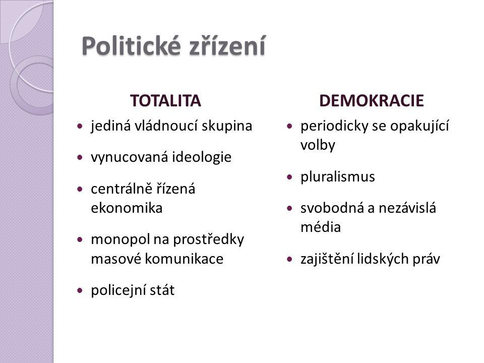 Politické zřízení TOTALITA  jediná vládnoucí skupina  vynucovaná ideologie  centrálně řízená ekonomika  monopol na prostředky masové komunikace 