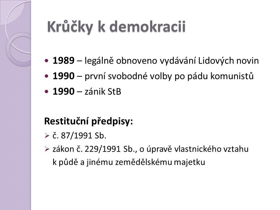 Krůčky k demokracii  1989 – legálně obnoveno vydávání Lidových novin  1990 – první svobodné volby po pádu komunistů  1990 – zánik StB Restituční př