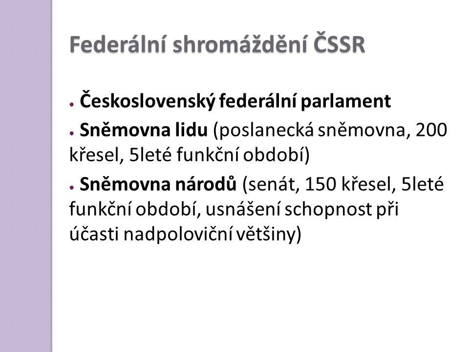 Federální shromáždění ČSSR ● Československý federální parlament ● Sněmovna lidu (poslanecká sněmovna, 200 křesel, 5leté funkční období) ● Sněmovna nár