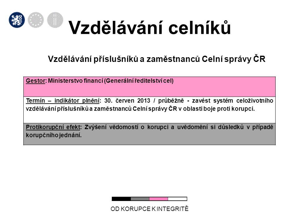 Vzdělávání celníků Vzdělávání příslušníků a zaměstnanců Celní správy ČR OD KORUPCE K INTEGRITĚ Gestor: Ministerstvo financí (Generální ředitelství cel