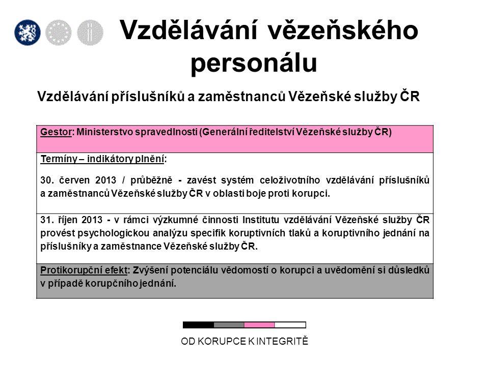 Vzdělávání vězeňského personálu Vzdělávání příslušníků a zaměstnanců Vězeňské služby ČR OD KORUPCE K INTEGRITĚ Gestor: Ministerstvo spravedlnosti (Gen