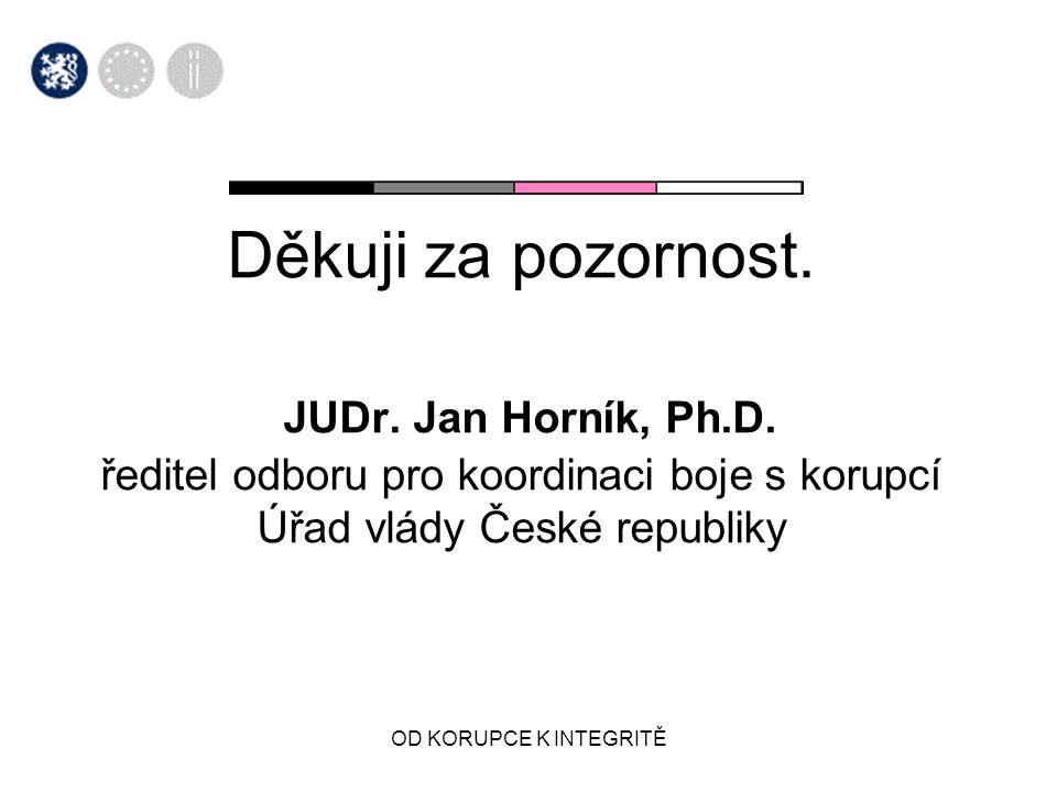 OD KORUPCE K INTEGRITĚ Děkuji za pozornost. JUDr. Jan Horník, Ph.D. ředitel odboru pro koordinaci boje s korupcí Úřad vlády České republiky