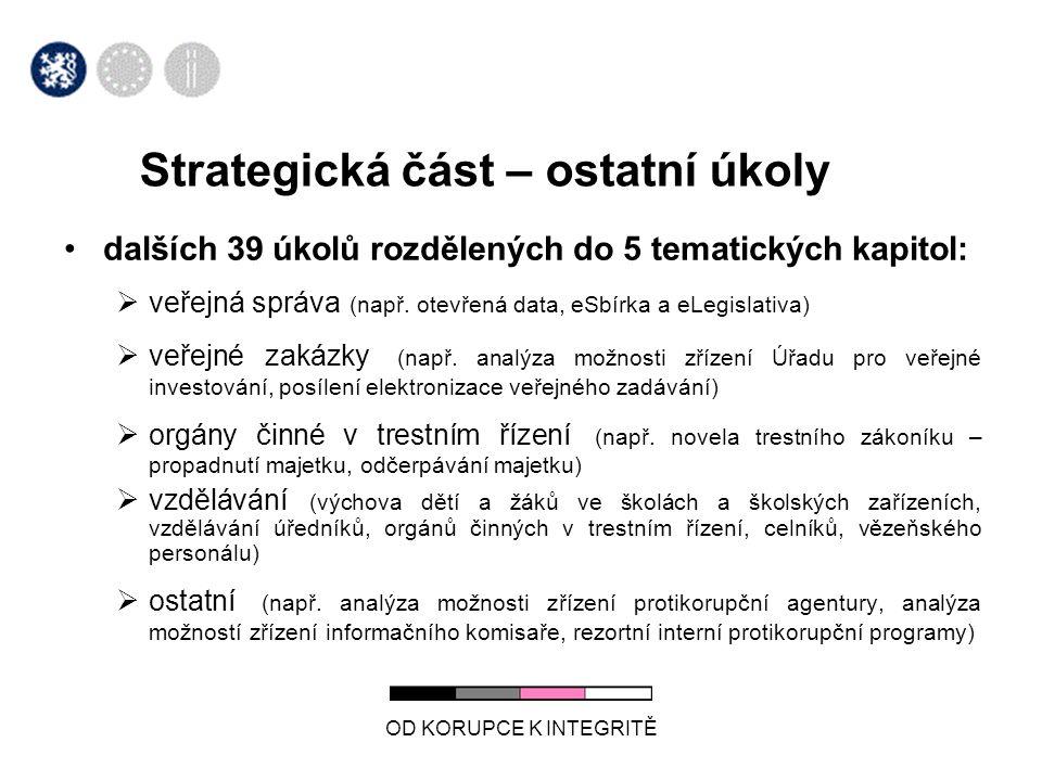 OD KORUPCE K INTEGRITĚ Strategická část – ostatní úkoly •dalších 39 úkolů rozdělených do 5 tematických kapitol:  veřejná správa (např. otevřená data,
