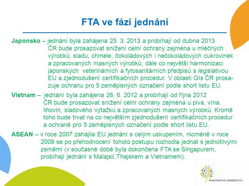 FTA ve fázi jednání Japonsko – jednání byla zahájena 25. 3. 2013 a probíhají od dubna 2013 ČR bude prosazovat snížení celní ochrany zejména u mléčných