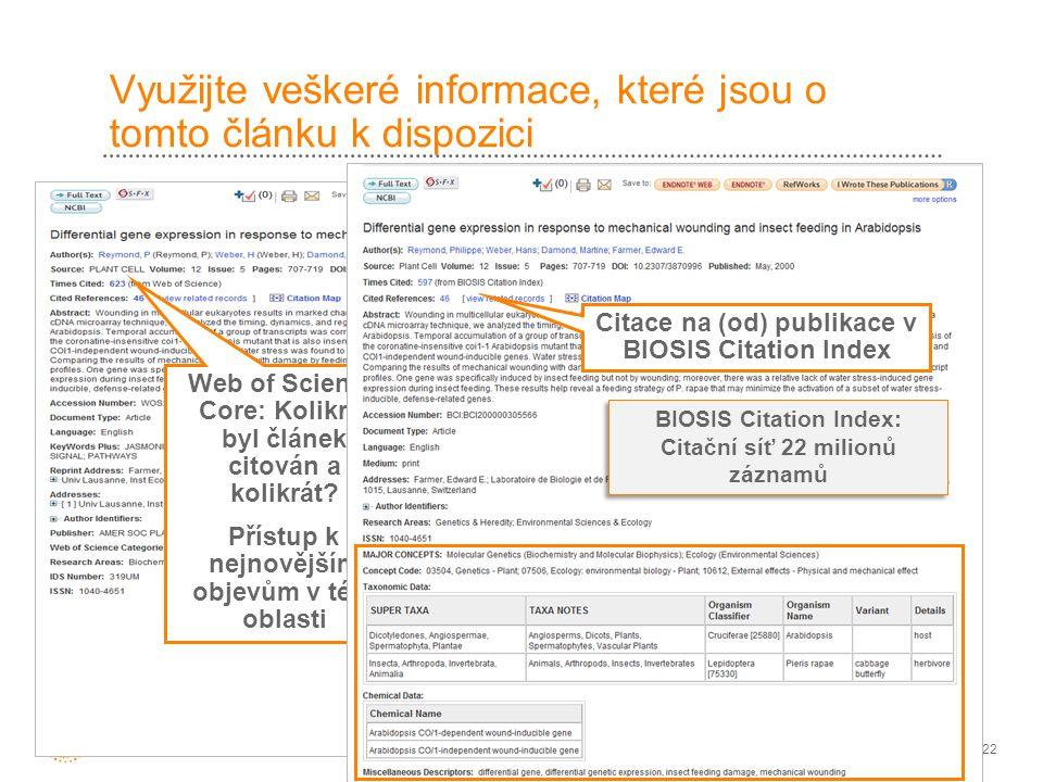 22 Využijte veškeré informace, které jsou o tomto článku k dispozici Tento článek je rovněž obsažen BIOSIS Citation Index Web of Science Core: Kolikrát byl článek citován a kolikrát.